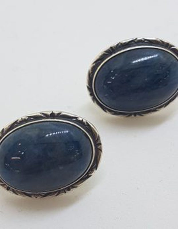 Sterling Silver Large Oval Blue Kyanite Stud Earrings