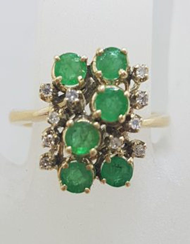 9ct Yellow Gold Natural Emerald and Diamond Large Cluster Ring - Antique / Vintage