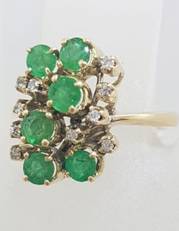 18ct Yellow Gold Natural Emerald and Diamond Large Cluster Ring - Antique / Vintage