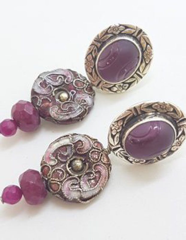 Sterling Silver Oval Carved Amethyst with Ornate Cloisonne Enamel Long Drop Earrings - Designer