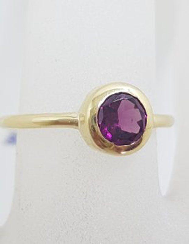 9ct Yellow Gold Round Bezel Set Rhodolite Garnet Ring