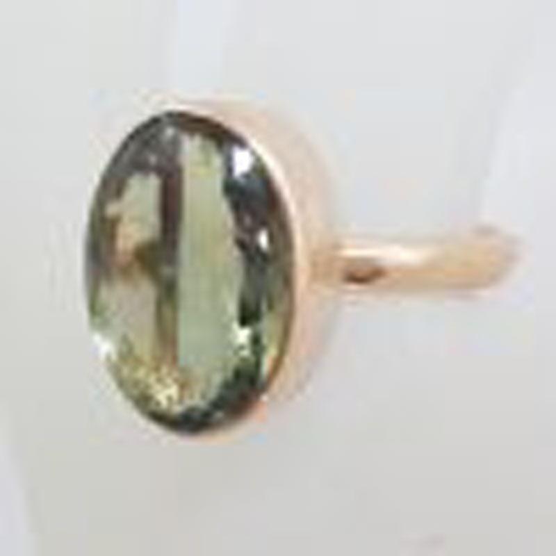 9ct Rose Gold Oval Bezel Set Green Amethyst / Prasiolite Ring