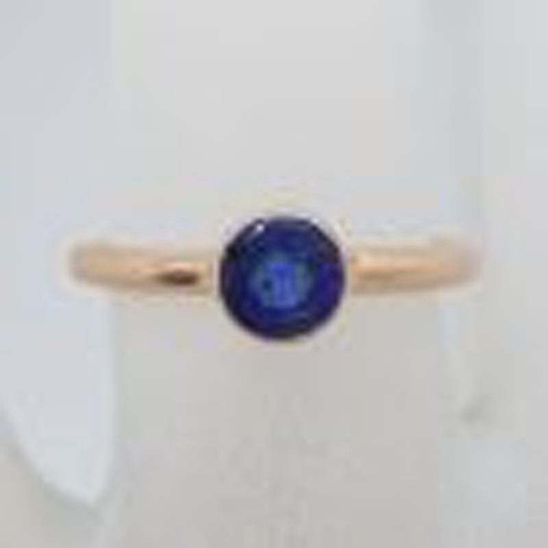 9ct Rose Gold Round Bezel Set Natural Blue Sapphire Ring
