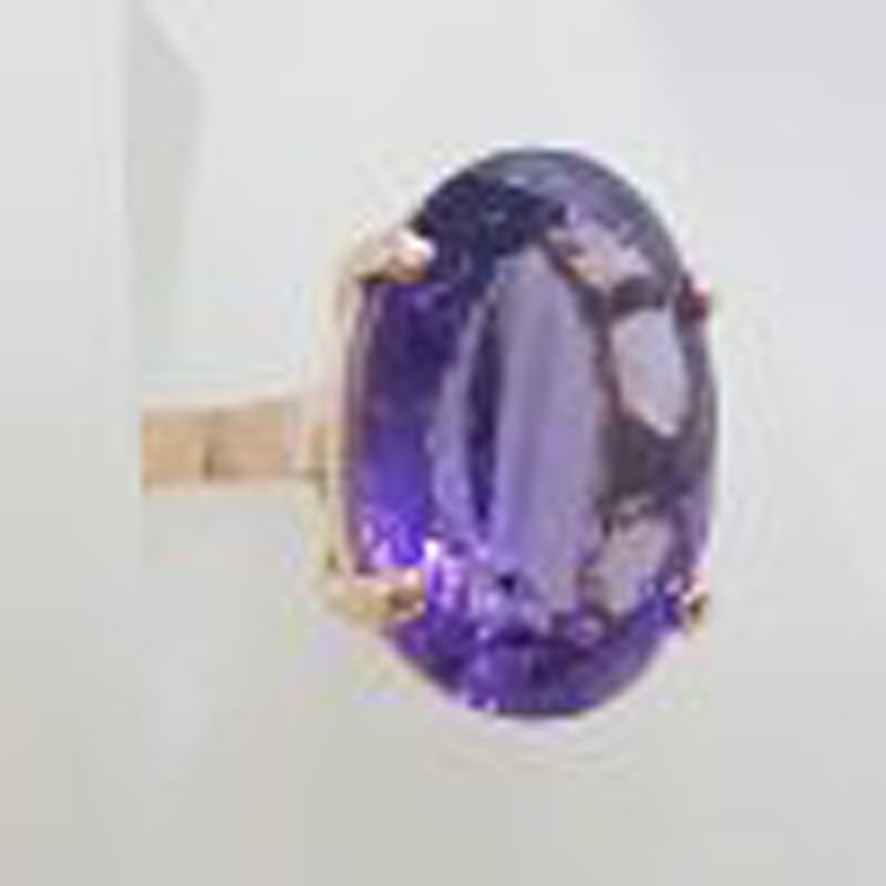 9ct Rose Gold Large Oval Claw Set Amethyst Ring