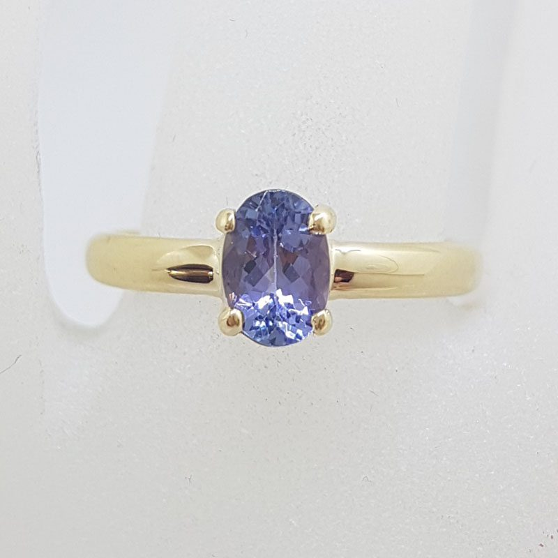 9ct Yellow Gold Oval Claw Set Tanzanite Ring
