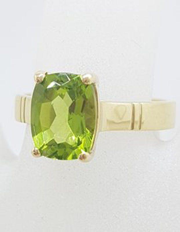 9ct Yellow Gold Rectangular Claw Set Peridot Ring