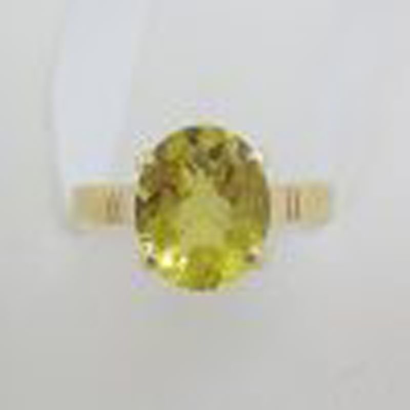 9ct Yellow Gold Oval Claw Set Citrine Ring