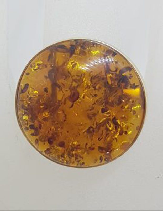 9ct Yellow Gold Large Round Natural Baltic Amber Ring