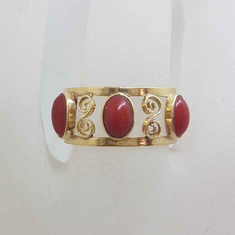 18ct Yellow Gold Ornate Filigree Coral All-Around Ring - Antique / Vintage