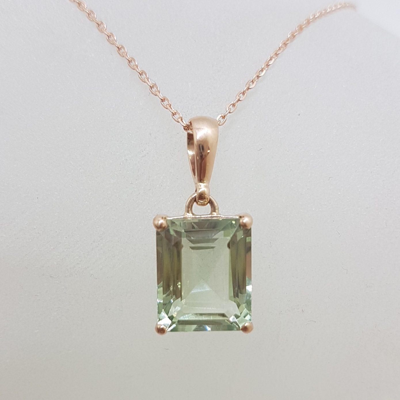 9ct Rose Gold Rectangular Green Amethyst / Prasiolite Claw Set Pendant on Gold Chain