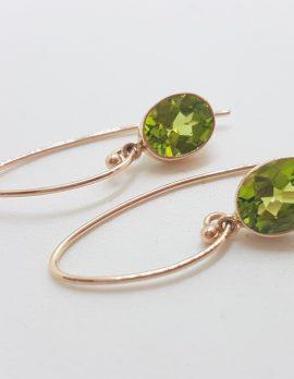 9ct Rose Gold Long Oval Bezel Set Peridot Drop Earrings