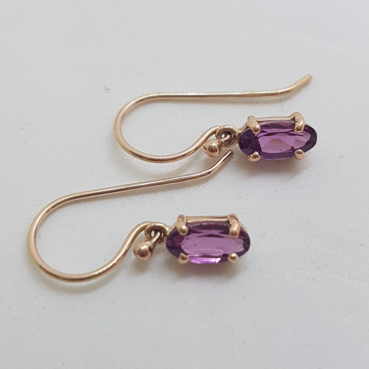 9ct Rose Gold Oval Claw Set Rhodolite Garnet Drop Earrings