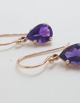 9ct Rose Gold Teardrop / Pear Shape Claw Set Amethyst Drop Earrings