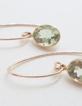 9ct Rose Gold Long Oval Bezel Set Green Amethyst / Prasiolite Drop Earrings