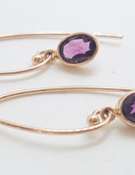 9ct Rose Gold Oval Bezel Set Rhodolite Garnet Drop Earrings