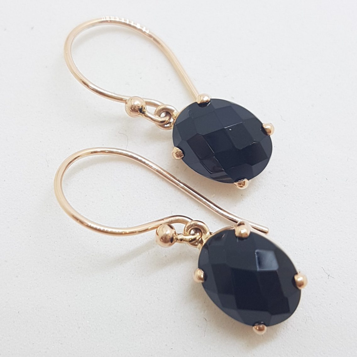 9ct Rose Gold Oval Claw Set Onyx Drop Earrings