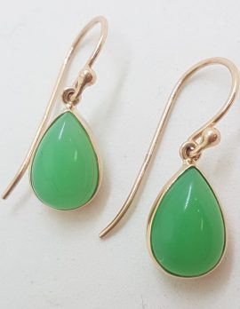 9ct Rose Gold Teardrop / Pear Shape Green Chrysophrase / Australian Jade Drop Earrings