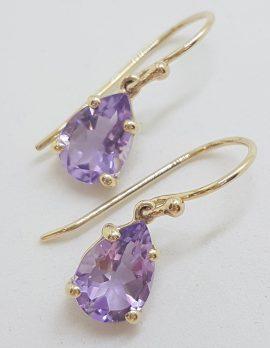9ct Yellow Gold Teardrop / Pear Shape Claw Set Amethyst Drop Earrings