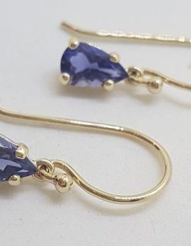 9ct Yellow Gold Teardrop / Pear Shape Iolite Claw Set Drop Earrings