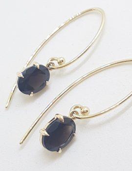9ct Yellow Gold Oval Claw Set Long Smokey Quartz Drop Earrings