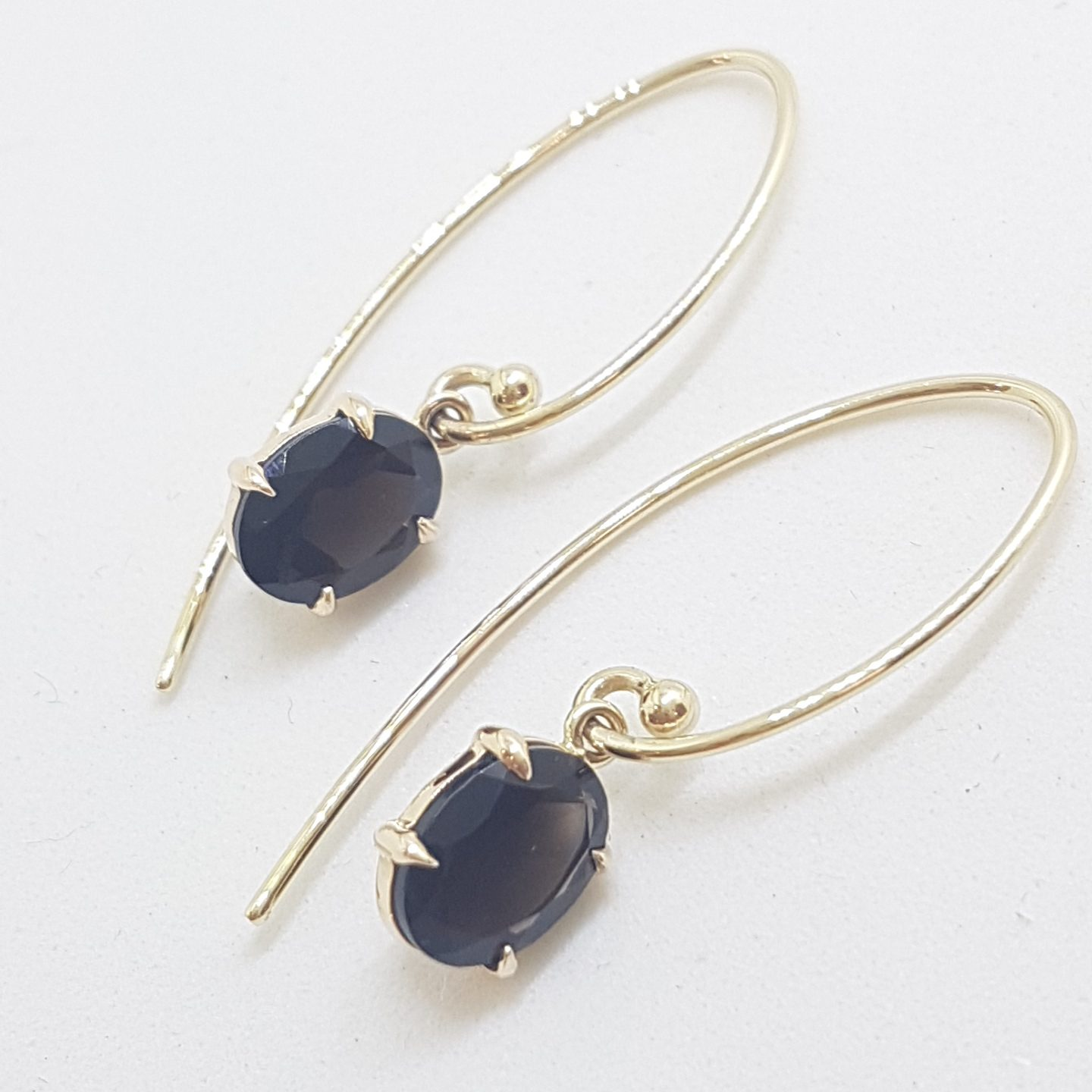9ct Yellow Gold Oval Claw Set Long Smokey Quartz Drop Earrings