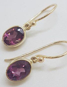 9ct Yellow Gold Oval Bezel Set Rhodolite Garnet Drop Earrings