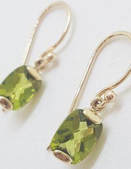 9ct Yellow Gold Rectangular Peridot Drop Earrings