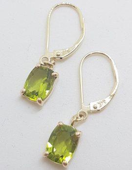 9ct Yellow Gold Claw Set Rectangular Peridot Drop Earrings - European Clasp