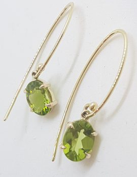 9ct Yellow Gold Claw Set Long Oval Peridot Drop Earrings