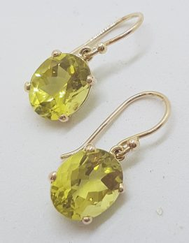 9ct Yellow Gold Oval Lemon Quartz / Citrine Claw Set Drop Earrings