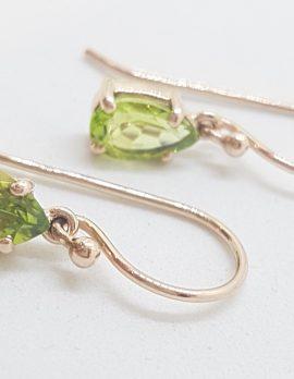 9ct Rose Gold Teardrop / Pear Shape Claw Set Peridot Drop Earrings