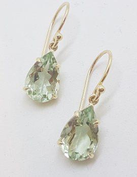 9ct Yellow Gold Claw Set Teardrop / Pear Shape Green Amethyst / Prasiolite Drop Earrings