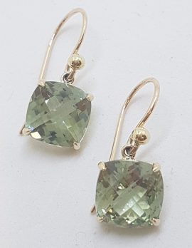 9ct Yellow Gold Claw Set Square Green Amethyst / Prasiolite Drop Earrings