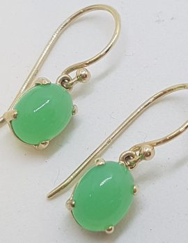 9ct Yellow Gold Oval Claw Set Chryosprase / Australian Jade Drop Earrings