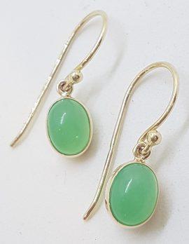 9ct Yellow Gold Oval Bezel Set Chryosprase / Australian Jade Drop Earrings