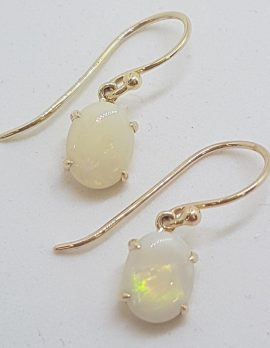 9ct Yellow Gold Claw Set Oval Solid Opal Drop Earrings