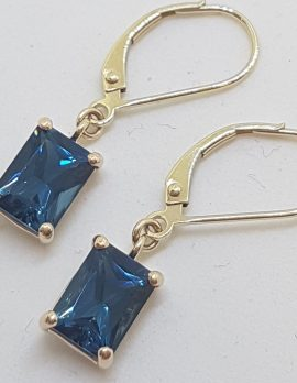 9ct Yellow Gold Rectangular London Blue Topaz Drop Earrings - European Clasp