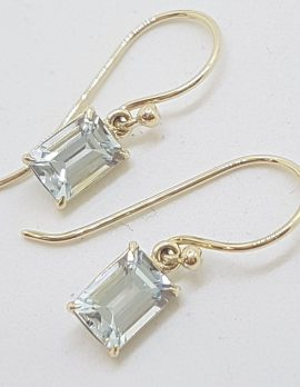 9ct Yellow Gold Claw Set Rectangular Aquamarine Drop Earrings