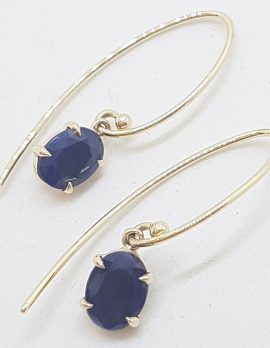 9ct Yellow Gold Oval Natural Sapphire Long Drop Earrings