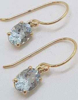 9ct Yellow Gold Claw Set Oval Aquamarine Drop Earrings