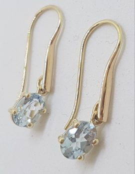 9ct Yellow Gold Claw Set Oval Aquamarine Long Drop Earrings