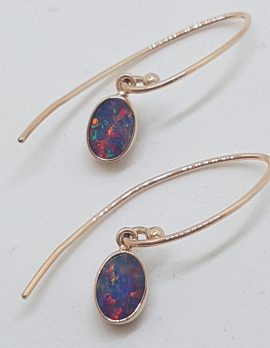 9ct Rose Gold Bezel Set Oval Blue and Multi-Colour Drop Earrings
