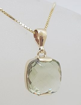 9ct Yellow Gold Square Green Amethyst / Prasiolite Pendant on Gold Chain