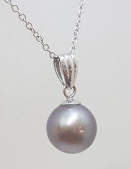 9ct White Gold Round Tahitian Pearl Silver Grey Pendant on Gold Chain