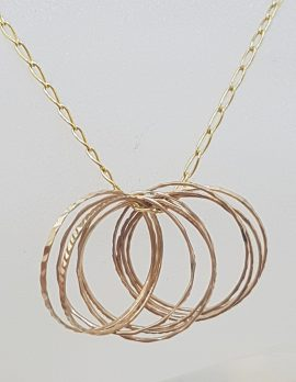 9ct Yellow Gold Multiple Rings Pendant on Gold Chain