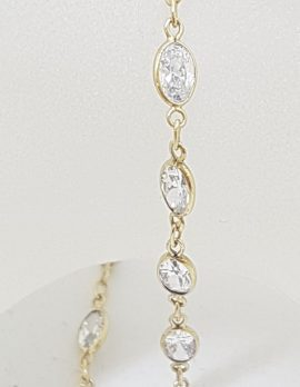 9ct Yellow Gold Bezel Set Cubic Zirconia Bracelet